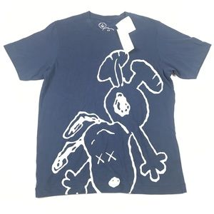 KAWS UNIQLO Peanuts T Shirt Blue Tee Snoopy Medium